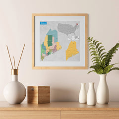 Ezposterprints - Maine (ME) State - General Reference Map - 12x12 ambiance display photo sample