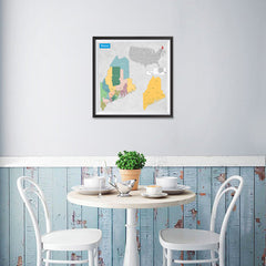 Ezposterprints - Maine (ME) State - General Reference Map - 16x16 ambiance display photo sample
