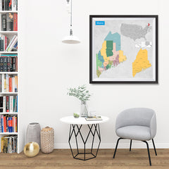 Ezposterprints - Maine (ME) State - General Reference Map - 32x32 ambiance display photo sample