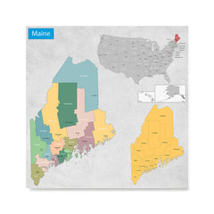 Ezposterprints - Maine (ME) State - General Reference Map