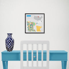 Ezposterprints - Minnesota (MN) State - General Reference Map - 10x10 ambiance display photo sample