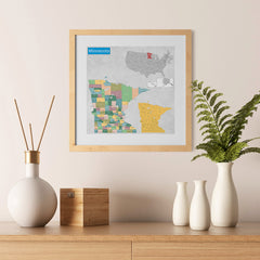 Ezposterprints - Minnesota (MN) State - General Reference Map - 12x12 ambiance display photo sample