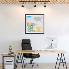 Ezposterprints - Minnesota (MN) State - General Reference Map - 24x24 ambiance display photo sample