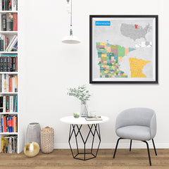 Ezposterprints - Minnesota (MN) State - General Reference Map - 32x32 ambiance display photo sample