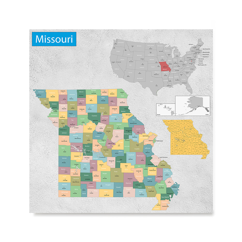 Ezposterprints - Missouri (MO) State - General Reference Map