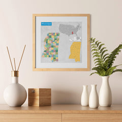 Ezposterprints - Mississippi (MS) State - General Reference Map - 12x12 ambiance display photo sample