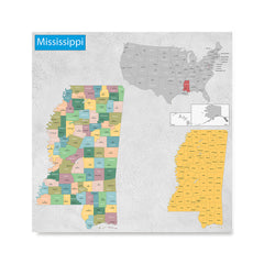 Ezposterprints - Mississippi (MS) State - General Reference Map