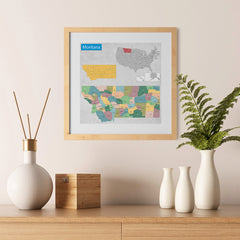 Ezposterprints - Montana (MT) State - General Reference Map - 12x12 ambiance display photo sample