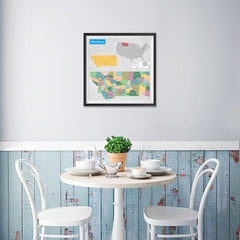 Ezposterprints - Montana (MT) State - General Reference Map - 16x16 ambiance display photo sample