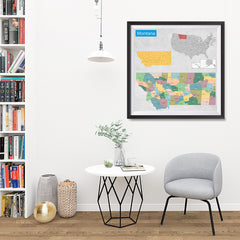Ezposterprints - Montana (MT) State - General Reference Map - 32x32 ambiance display photo sample