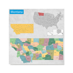 Ezposterprints - Montana (MT) State - General Reference Map