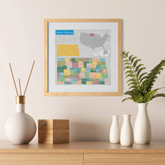 Ezposterprints - North Dakota (ND) State - General Reference Map - 12x12 ambiance display photo sample