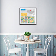 Ezposterprints - North Dakota (ND) State - General Reference Map - 16x16 ambiance display photo sample