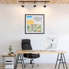 Ezposterprints - North Dakota (ND) State - General Reference Map - 24x24 ambiance display photo sample