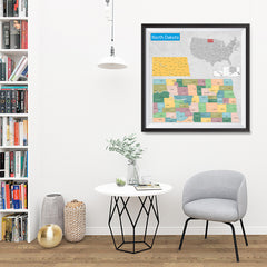 Ezposterprints - North Dakota (ND) State - General Reference Map - 32x32 ambiance display photo sample