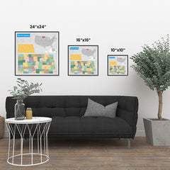 Ezposterprints - North Dakota (ND) State - General Reference Map ambiance display photo sample