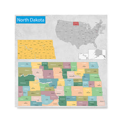 Ezposterprints - North Dakota (ND) State - General Reference Map