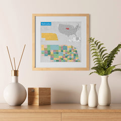 Ezposterprints - Nebraska (NE) State - General Reference Map - 12x12 ambiance display photo sample
