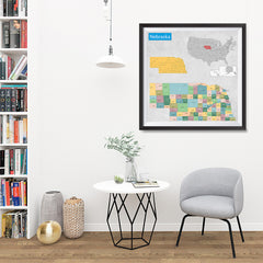 Ezposterprints - Nebraska (NE) State - General Reference Map - 32x32 ambiance display photo sample