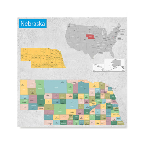 Ezposterprints - Nebraska (NE) State - General Reference Map