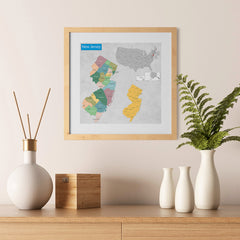 Ezposterprints - New Jersey (NJ) State - General Reference Map - 12x12 ambiance display photo sample