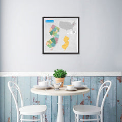Ezposterprints - New Jersey (NJ) State - General Reference Map - 16x16 ambiance display photo sample