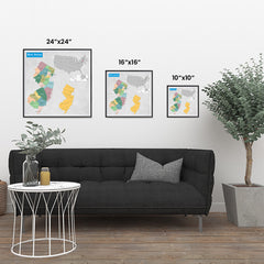 Ezposterprints - New Jersey (NJ) State - General Reference Map ambiance display photo sample
