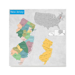 Ezposterprints - New Jersey (NJ) State - General Reference Map