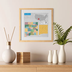 Ezposterprints - New Mexico (NM) State - General Reference Map - 12x12 ambiance display photo sample