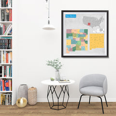 Ezposterprints - New Mexico (NM) State - General Reference Map - 32x32 ambiance display photo sample