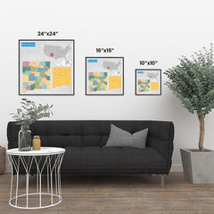 Ezposterprints - New Mexico (NM) State - General Reference Map ambiance display photo sample