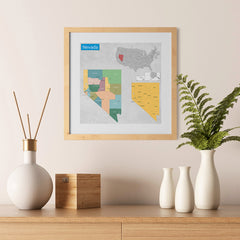Ezposterprints - Nevada (NV) State - General Reference Map - 12x12 ambiance display photo sample