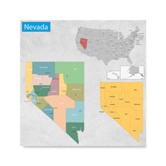 Ezposterprints - Nevada (NV) State - General Reference Map