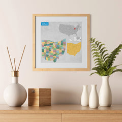 Ezposterprints - Ohio (OH) State - General Reference Map - 12x12 ambiance display photo sample
