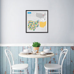 Ezposterprints - Ohio (OH) State - General Reference Map - 16x16 ambiance display photo sample