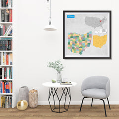 Ezposterprints - Ohio (OH) State - General Reference Map - 32x32 ambiance display photo sample