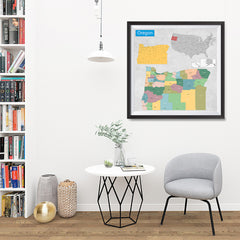 Ezposterprints - Oregon (OR) State - General Reference Map - 32x32 ambiance display photo sample