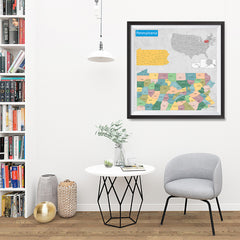 Ezposterprints - Pennsylvania (PA) State - General Reference Map - 32x32 ambiance display photo sample