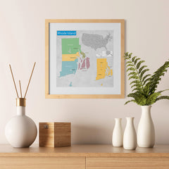 Ezposterprints - Rhode Island (RI) State - General Reference Map - 12x12 ambiance display photo sample
