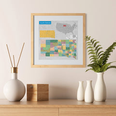 Ezposterprints - South Dakota (SD) State - General Reference Map - 12x12 ambiance display photo sample
