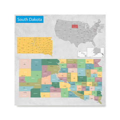 Ezposterprints - South Dakota (SD) State - General Reference Map