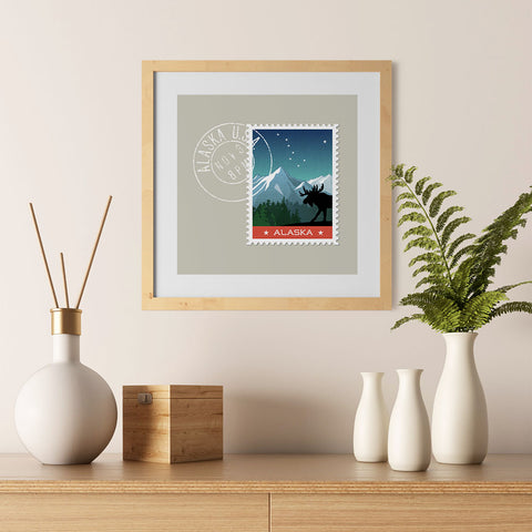 Ezposterprints - ALASKA - Retro USA State Stamp Posters Collection - 12x12 ambiance display photo sample