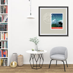 Ezposterprints - ALASKA - Retro USA State Stamp Posters Collection - 32x32 ambiance display photo sample