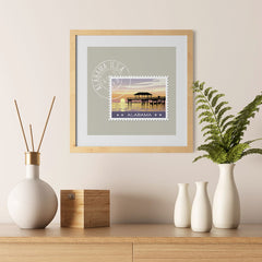 Ezposterprints - ALABAMA - Retro USA State Stamp Posters Collection - 12x12 ambiance display photo sample