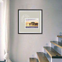 Ezposterprints - ALABAMA - Retro USA State Stamp Posters Collection - 16x16 ambiance display photo sample