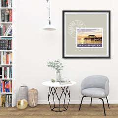 Ezposterprints - ALABAMA - Retro USA State Stamp Posters Collection - 32x32 ambiance display photo sample
