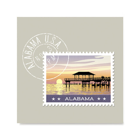 Ezposterprints - ALABAMA - Retro USA State Stamp Posters Collection