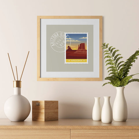 Ezposterprints - ARIZONA - Retro USA State Stamp Posters Collection - 12x12 ambiance display photo sample