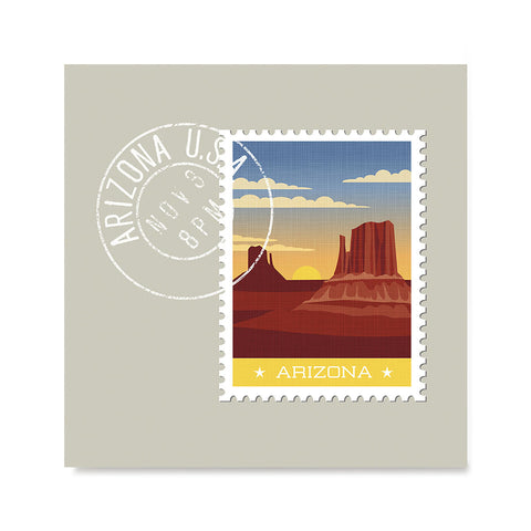 Ezposterprints - ARIZONA - Retro USA State Stamp Posters Collection