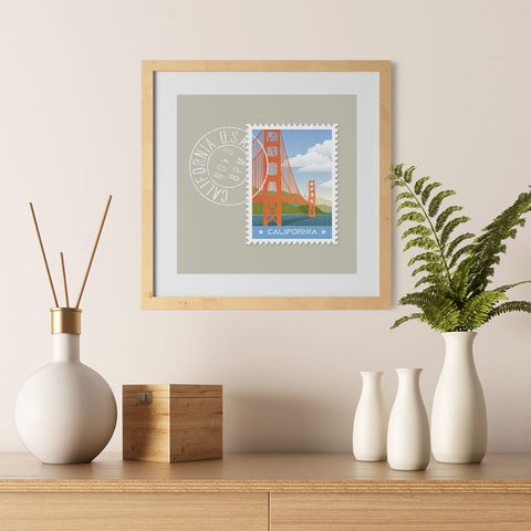 Ezposterprints - CALIFORNIA - Retro USA State Stamp Posters Collection - 12x12 ambiance display photo sample